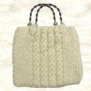 Vintage Handmade Cream Wool Crocheted Handbag